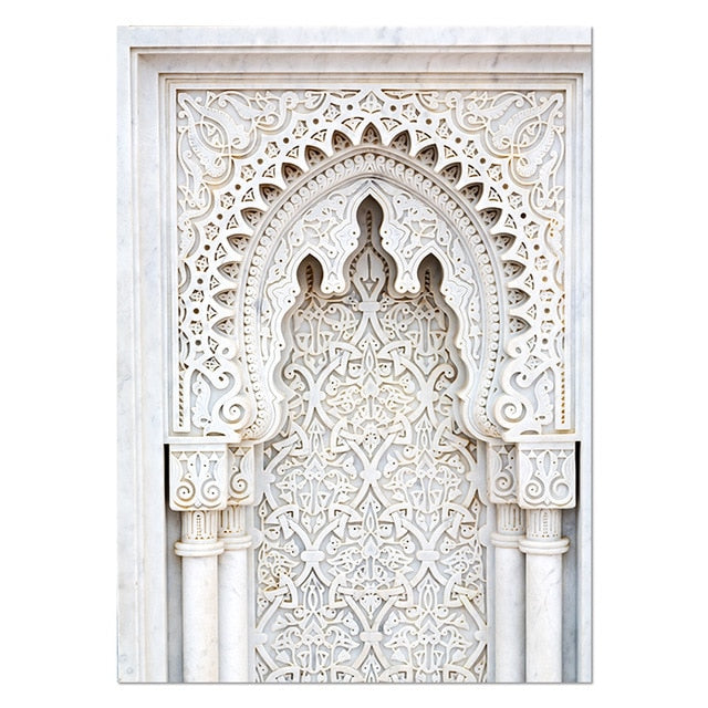 Moroccan Door Wall Architecture  Art Gold Canvas Panting 🎁