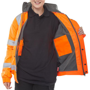 High Visibility Fleece Lined Bomber Jacket Orange
