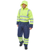Two Tone Hiviz Thermal Waterproof Coverall Saturn Yellow / Navy
