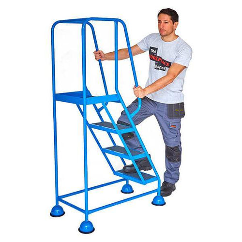 Cupped Feet Safety Steps, 4 Treads Blue - Tidi-Cable Products