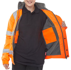 Hi Vis Fleece Lined Bomber Jacket Orange