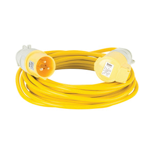 10M Extension Lead - 16A 1.5mm Cable - Yellow 110V