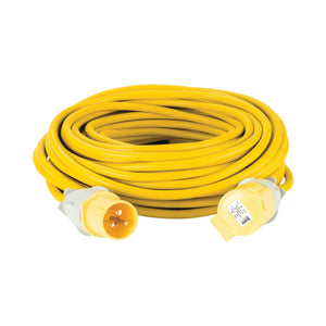 25M Extension Lead - 16A 2.5mm Cable - Yellow 110V