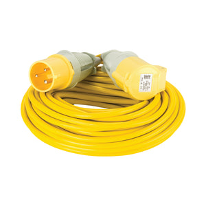 25M Extension Lead - 32A 2.5mm Cable - Yellow 110V