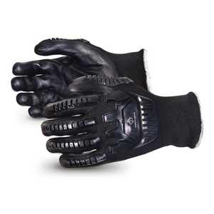Emerald CxÌ_Ìâ Impact-resistant Nylon/stainless-steel Cut-resistant String-knit Glove Black