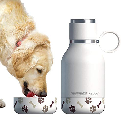 Asobu Dog Bowl Attached to Stainless Steel Insulated Travel Pet Bottle 1 Litre