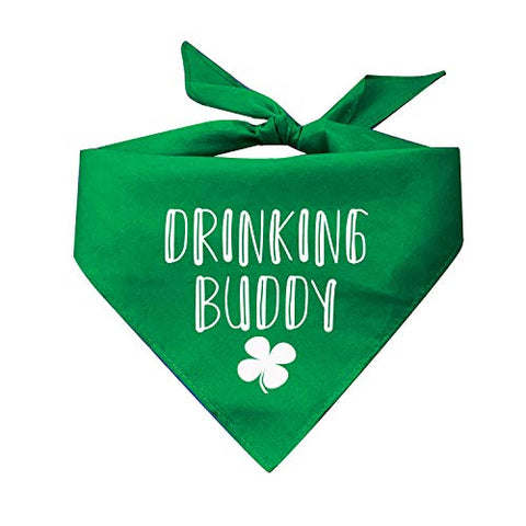 Drinking Buddy with Shamrock St. Patrick's Day Irish Dog Bandana