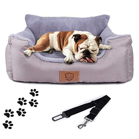 Dog Travel Car Carrier Bed with Storage Pocket and Clip-on Safety Leash