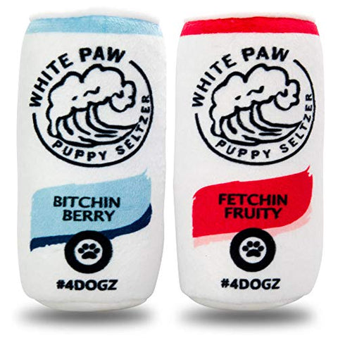 White Paw Original Two Pack Parody Funny Dog Drinks with Squeaker