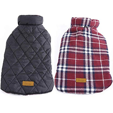 Kuoser British Style Plaid Dog Winter Coat