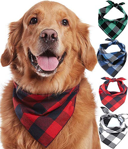 Tartan Style Dog Cotton Bandana 4 Pack