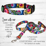 Vivid Floral Girl or Boy Dog Collar for Medium Dogs
