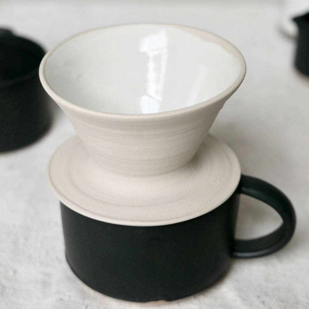 single ceramic white coffee filter