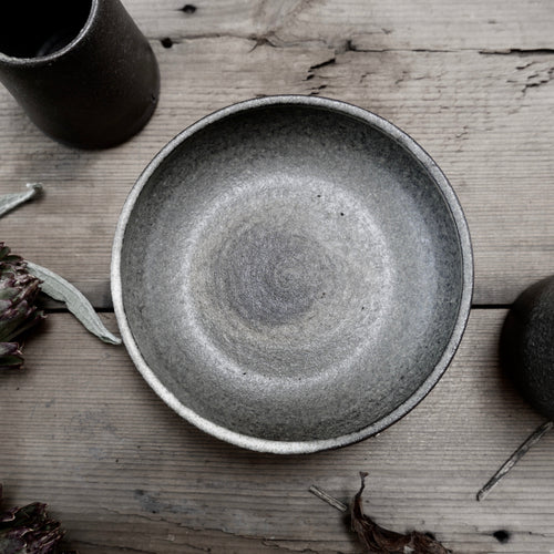 graphite small shallow bowl