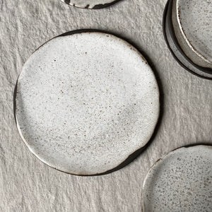 speckled white rustic dinner plate