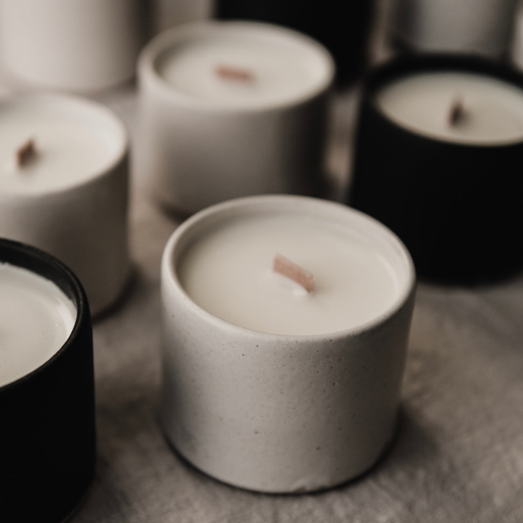 limited edition scented candle in matte white ceramic tumbler