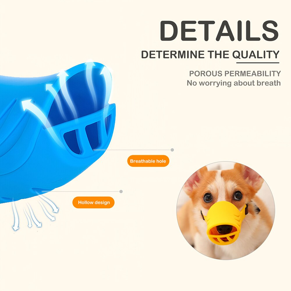 1pcs Dog Muzzle Silicone Cute Duck Mouth Mask