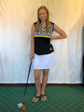 Load image into Gallery viewer, Bermuda Sands Black with Cheetah Print Women's Sleeveless Shirt