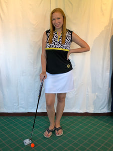 Bermuda Sands Black with Cheetah Print Women's Sleeveless Shirt