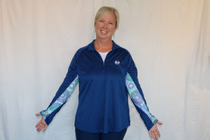 Bermuda Sands Navy Pullover with Medallion Print Sleeves