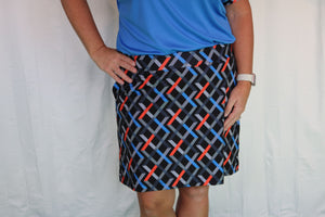 Bermuda Sands Black Multi-colored Argyle Skort
