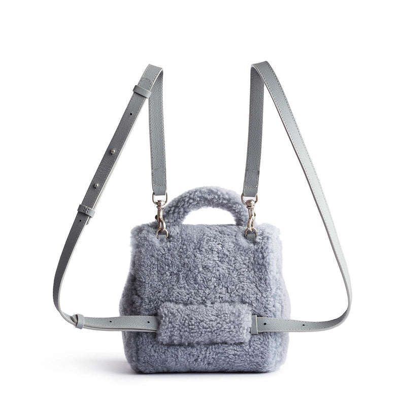 Micro Convertible Bag - Shearling - Steel