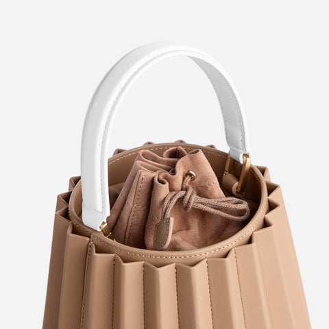 Mini Lantern Bag Pleated - Latte