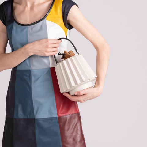 Mini Lantern Bag Pleated - Off White