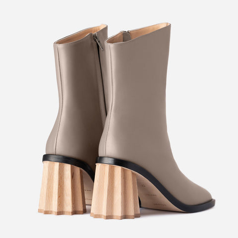 Pleated Heel Boots - Earth