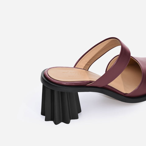Pleated Heel Mules - Bordeaux