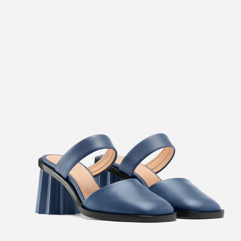 Pleated Heel Mule - Denim