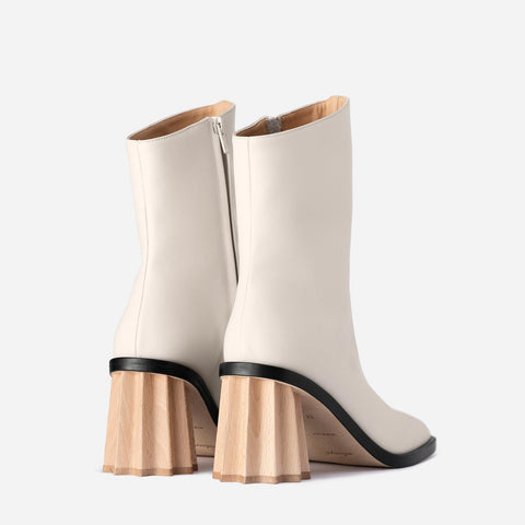 Pleated Heel Boots - Off White