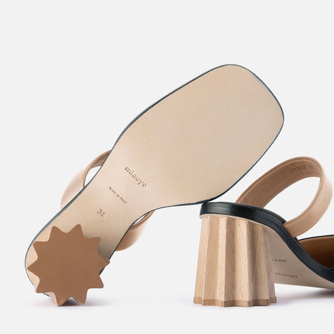 Pleated Heel Mules - Black & Beige