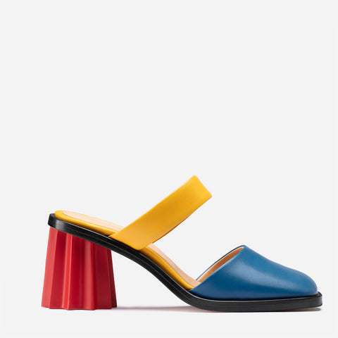 Pleated Heel Mules - Multicolor