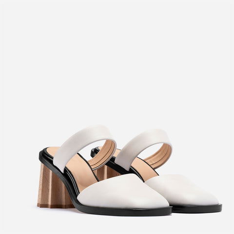 Pleated Heel Mules - Off White