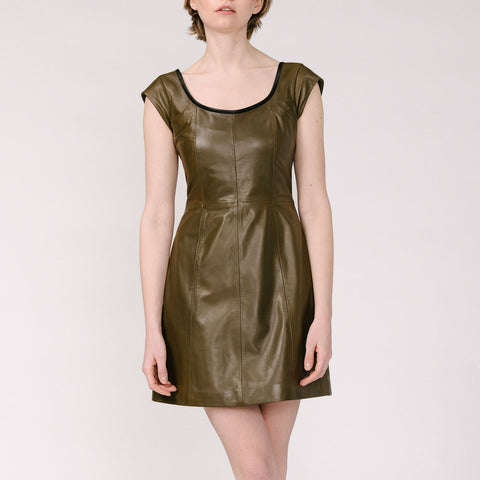 Rei Open Neck Dress - Olive