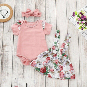 Pastel Floral dress + Pink Romper with Headband Romper, Baby Clothing, clothing, Lace Romper, new, Romper cotton-floral-dress-pink-romper-with-headbandTwo Little Seedlings