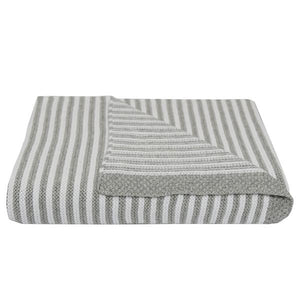 100% COTTON KNIT STRIPE BLANKET - GREY/WHITE Blanket, Essentials 100-cotton-knit-stripe-blanket-grey-whiteTwo Little Seedlings
