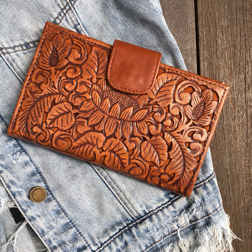 CARVED LOTUS WALLET- Vintage Brown Carved Leather Wallet, Carved, featured, Leather, new, Wallet copy-of-carved-lotus-wallet-vintage-brownTwo Little Seedlings