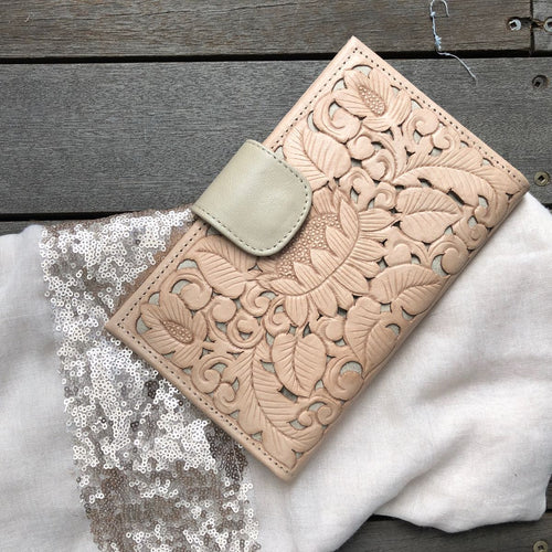 CARVED LOTUS WALLET- Natural Carved Wallet, Carved, featured, Leather, new, Wallet carved-lotus-wallet-naturalTwo Little Seedlings