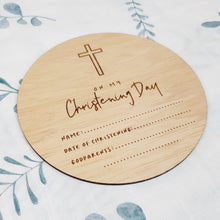 "Load image into Gallery viewer, ""On My Christening Day"" Wooden Plaque 