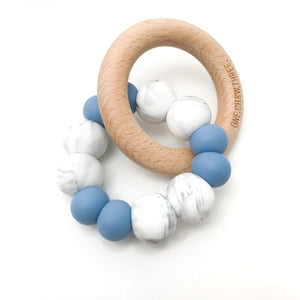 DUO Silicone and Beech Wood Teether- Blue Grey Marble Teether, teether duo-silicone-and-beech-wood-teether-blue-grey-marbleTwo Little Seedlings