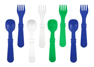 Re-Play Utensils 8 Pack (4 Forks / 4 Spoons WITH retail packaging) - Navy Blue (2ea) / Kelly Green (1ea) / White (1ea) Cutlery, cutlery, Meal time, new, replay re-play-utensils-8-pack-4-forks