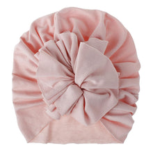 Load image into Gallery viewer, Soft Cotton Baby/Toddler Hair Turban with Ruffle- Pale Pink Turban, headband, new, TopKnot, Turban soft-cotton-hair-turban-with-topknot-pale-pinkTwo Little Seedlings
