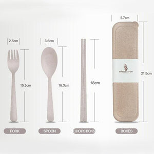 Eco-Friendly Wheat Straw Cutlery Set | Dinnerware | Camping | Picnic Portable Cutlery Set, cutlery set, eco friendly, featured, Meal time, out and about, Travel set portable-eco-friendly-whea