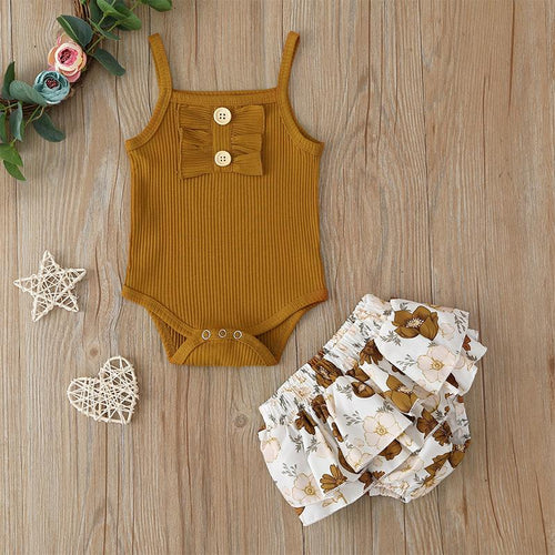 Tan Knitted Button Romper with Vintage Floral Ruffle Skirt- 2PCS Set Girls Outfit, Baby Clothing, Boys 2 piece outfit, Christmas, clothing, new, Romper tan-knitted-button-romper-with-vintage-