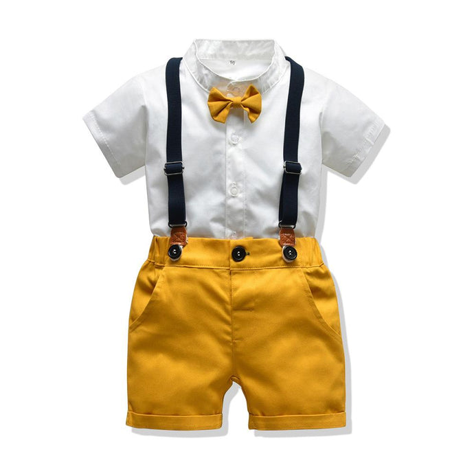 Short Sleeve White + Mustard 2 piece outfit with Suspenders + Bow Tie Boy's Outfit, Baby Clothing, Boys 2 piece outfit, Christmas, clothing, new, Romper short-sleeve-white-mustard-2-piece-out