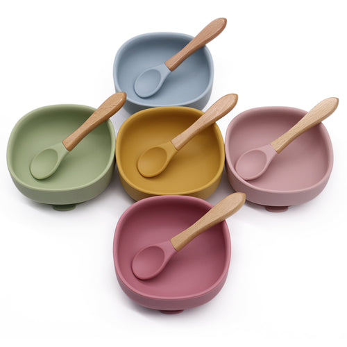 Non Spill Silicone Suction Bowl with Wood Spoon Set for Kids Silicone Suction Bowl + Spoon Set, featured, Meal time, new, silicone bowl non-spill-silicone-suction-bowl-with-wood-spoon-set-for