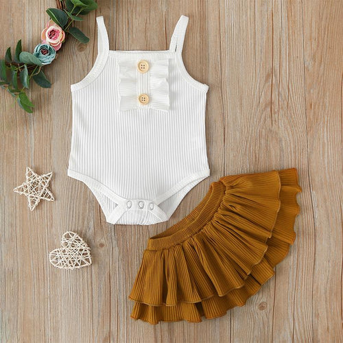 White Knitted Button Romper with Tan Ruffle Skirt- 2PCS Set Girls Outfit, Baby Clothing, Boys 2 piece outfit, Christmas, clothing, new, Romper white-knitted-button-romper-with-tan-ruffle-skir