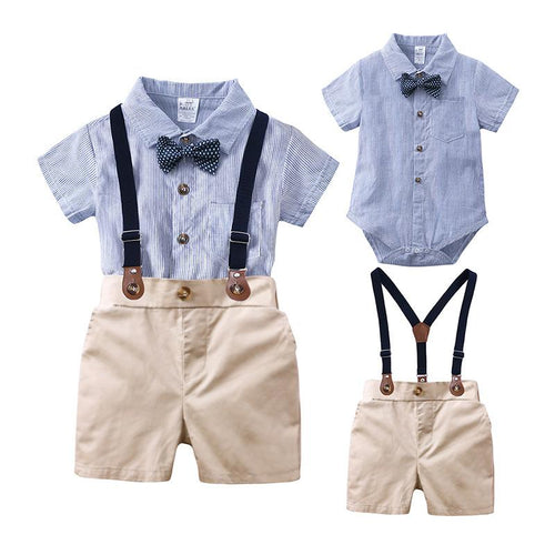 Short Sleeve Summer 2 piece outfit with Suspenders + Bow Tie Boy's Outfit, Baby Clothing, Boys 2 piece outfit, clothing, new, Romper short-sleeve-2-piece-outfit-with-suspenders-bow-tieTwo Lit
